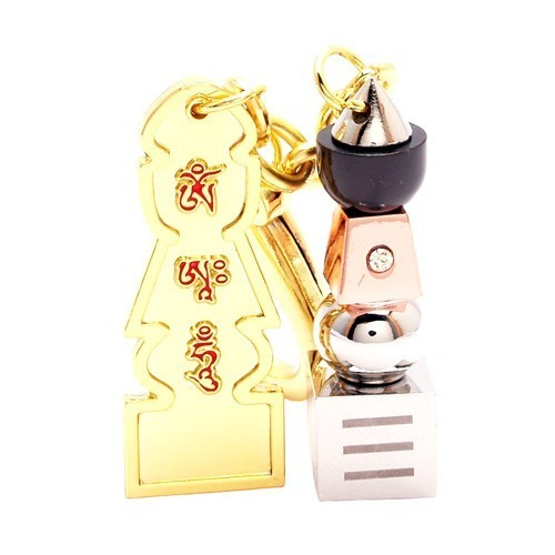 The Trinity Five Element Pagoda Keychain with Om Ah Hum