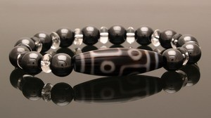 6 Eyed Dzi Bead with 10mm Hematite Bracelet