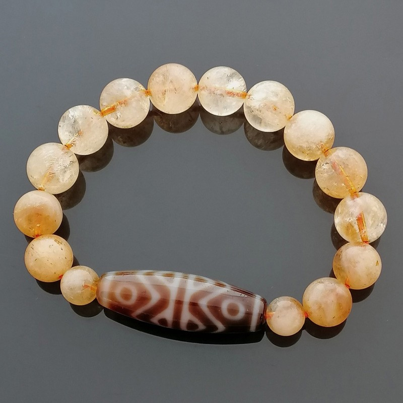 Authentic Tibetan Agate Dzi Bead Golden Tiger Tooth 6 Eyes with Citrine Bracelet