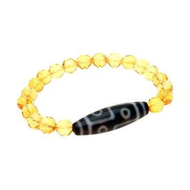 6 Eyed Dzi Bead with 8mm Faceted Citrine Donut Bracelet