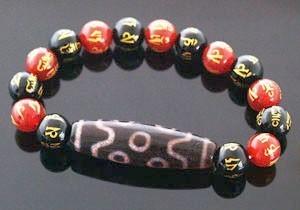Seven-Eyed Dzi Bracelet for Good Luck