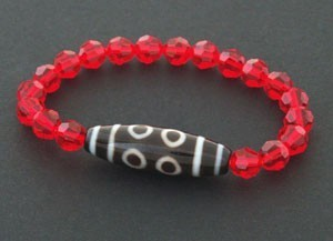 8 Eyed Dzi Bead with RED Swarovski Crystals Bracelet