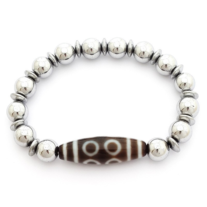 8 Eyed Dzi Bead with Natural Hematite Bracelet