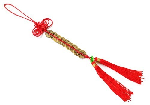 Feng Shui Nine Emperor Coins Tassel with Mystic Knot