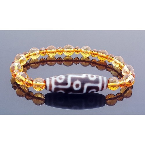 9 Eyed Dzi Bead with 8mm Faceted Citrine Bracelet