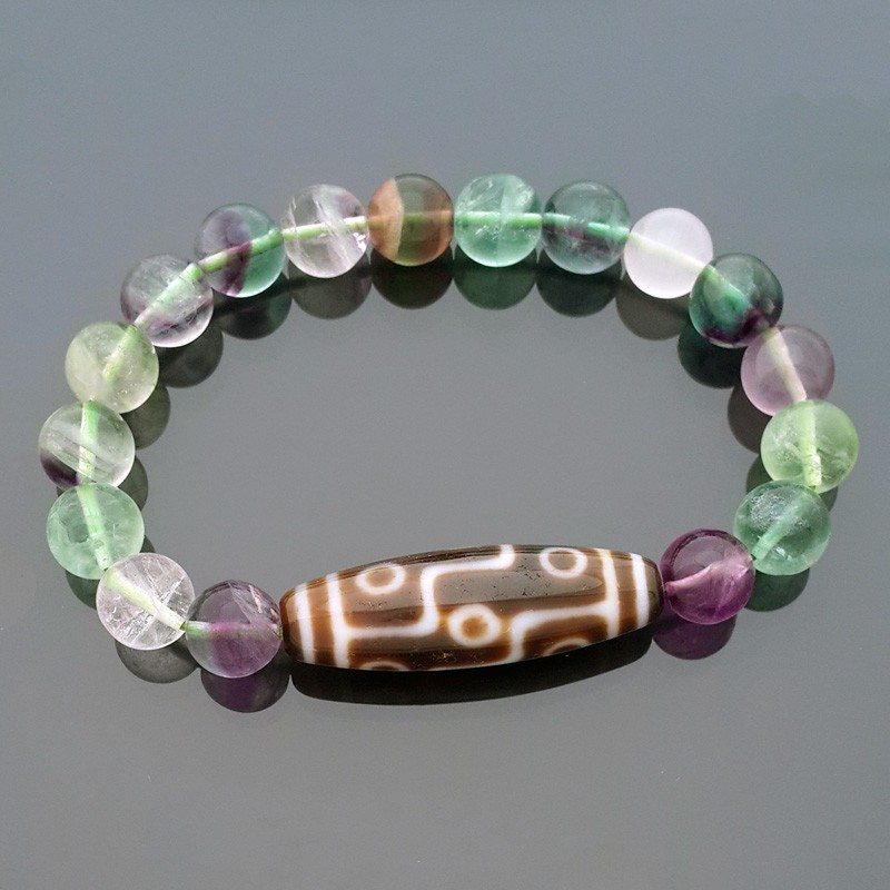 9 Eyed Dzi Bead with 10mm Natural Fluorite Bracelet