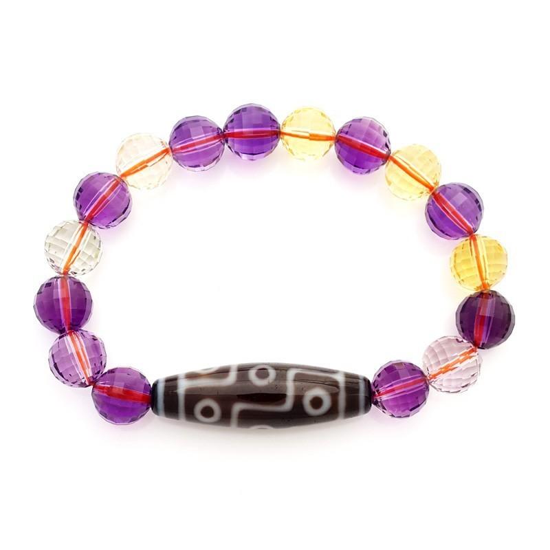9 Eye Dzi with Ametrine Beads Bracelet