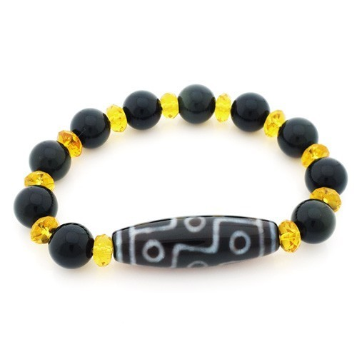 9 Eyed Dzi Bead with 10mm Natural Obsidian Bracelet