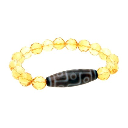 9 Eyed Dzi Bead with 10mm Faceted Citrine Bracelet