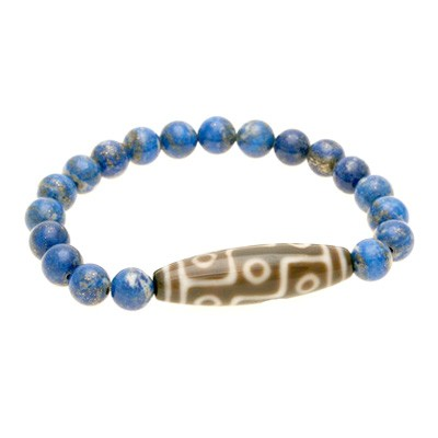 9 Eyed Dzi Bead with 8mm Natural Lapis Lazuli Bracelet