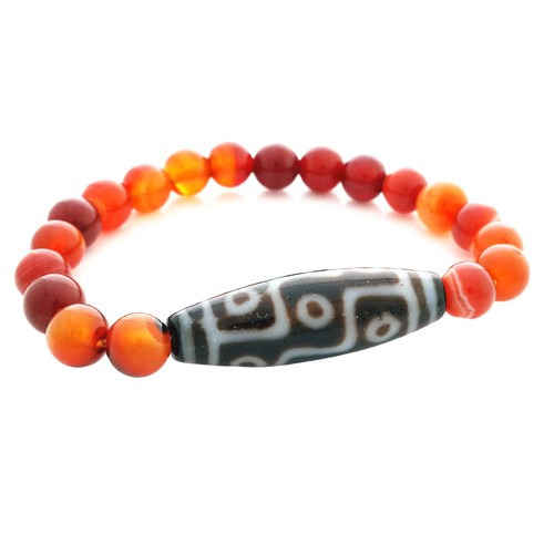 9 Eyed Dzi Bead with Natural Red Agate Bracelet