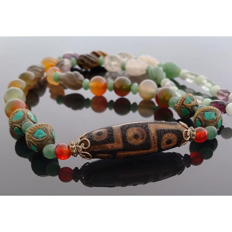 Authentic Tibetan Agate 9-Eyed dZi Bead Pendant Necklace