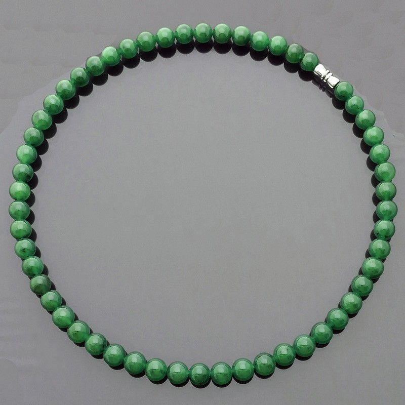 100% Natural Hetian Green Jade Nephrite Feng Shui Lucky Necklace