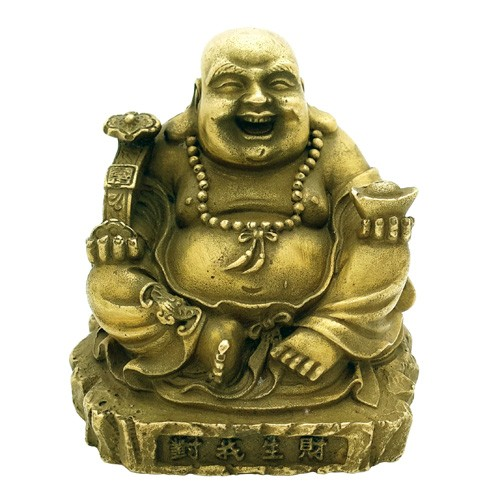 Bronze Laughing Buddha Holding A Ru Yi ( Special Offer )