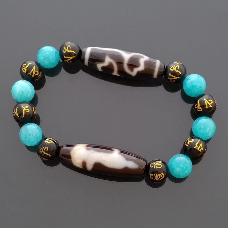 Authentic Tibetan Agate Dzi Beads Kuan Yin with Lotus Flower Talisman Stretch Bracelet