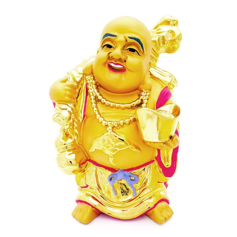 The Golden Laughing Buddha holding an Ingot