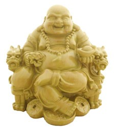 Laughing Buddha Sitting on Dragon Chair