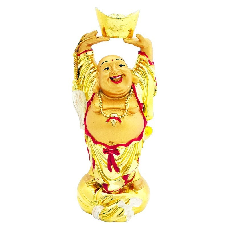 Laughing Buddha Lifting A Gold Ingot - Gold Plated