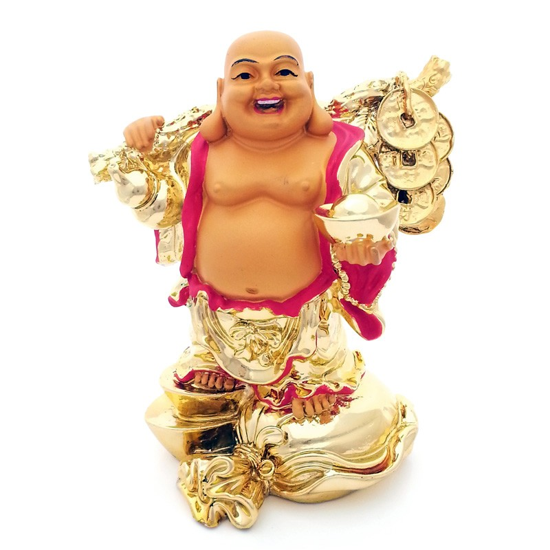 Laughing Buddha holding an Ingot and Gold Coins