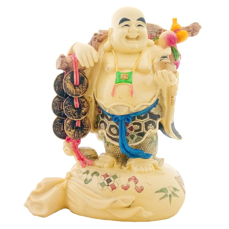 Laughing Buddha holding an Ingot and Coins