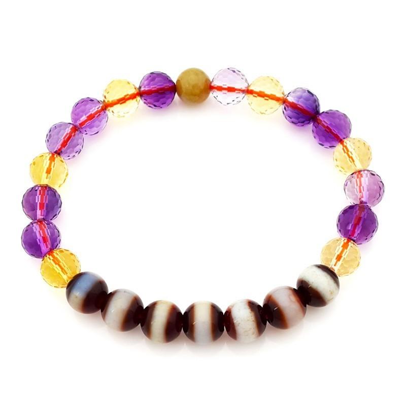 The 7 pieces of Medicine Buddha Dzi Beads Bracelet for Health Luck