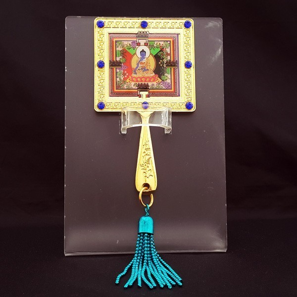 Medicine Buddha Mirror Amulet with Stand