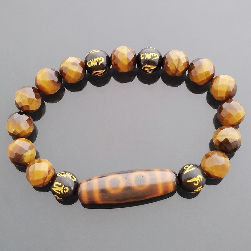 Authentic Tibetan OLD 5 Eyed dZi with Tiger Eye Gemstone Stretch Bracelet for Success and Wealth