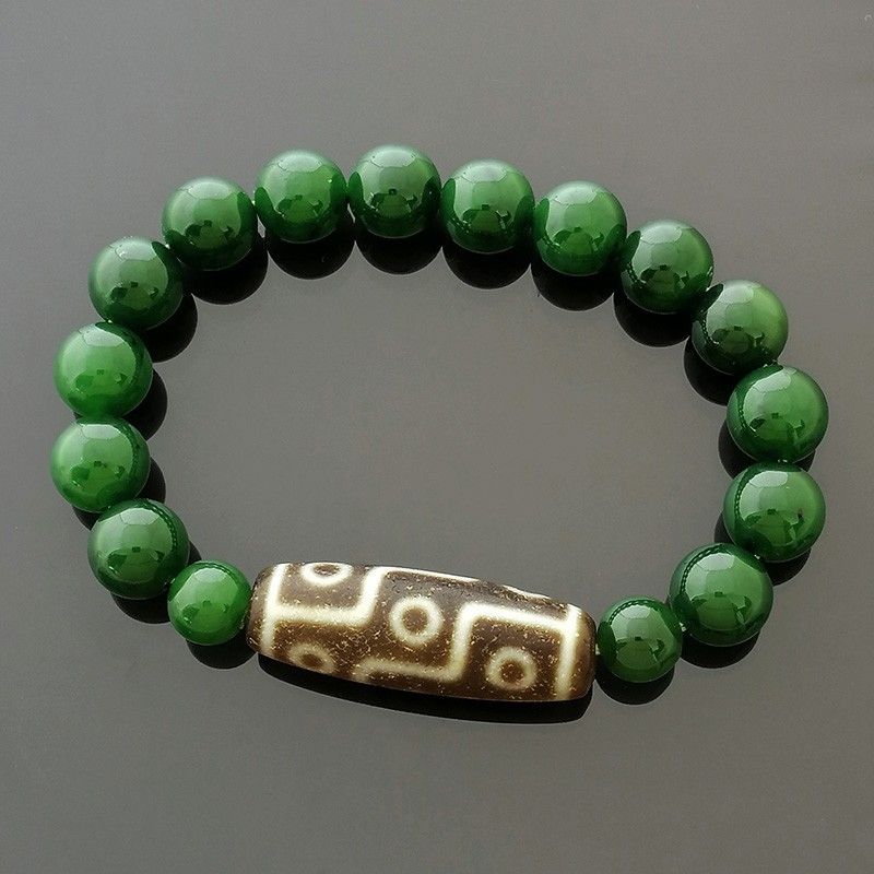Authentic Tibetan OLD Agate 9 Eyed dZi Bead Bracelet for Wealth and Success