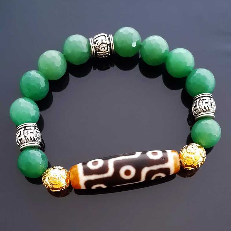 Authentic OLD Dzi Bead 9 Eyes with Aventurine Bracelet