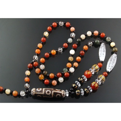 OLD Agate Nine-Eyed Dzi bead Necklace