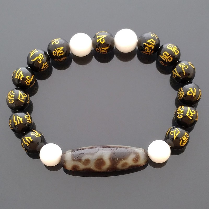 Authentic Tibetan OLD Agate Lotus Flower Dzi Bead Stretch Feng Shui Bracelet