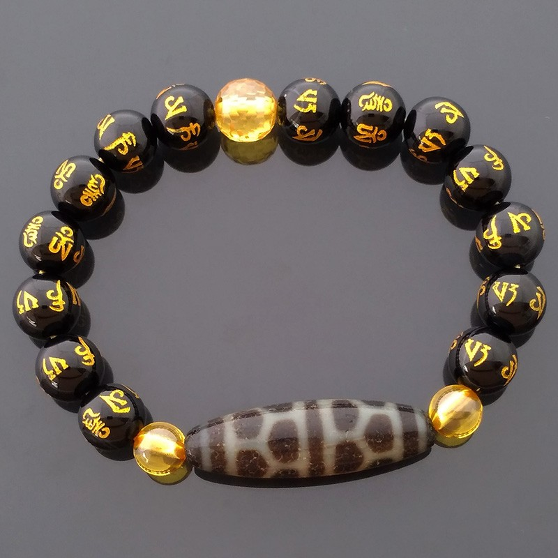 Old Agate Turtle Shell Dzi Bead Bracelet