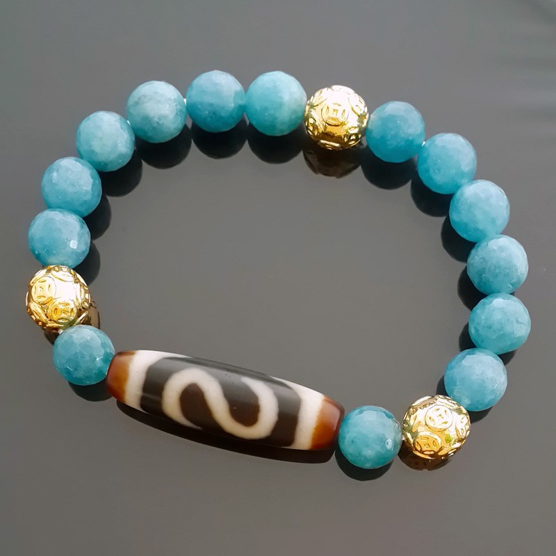Authentic OLD Dzi Bead Money Hook Bracelet for Wealth