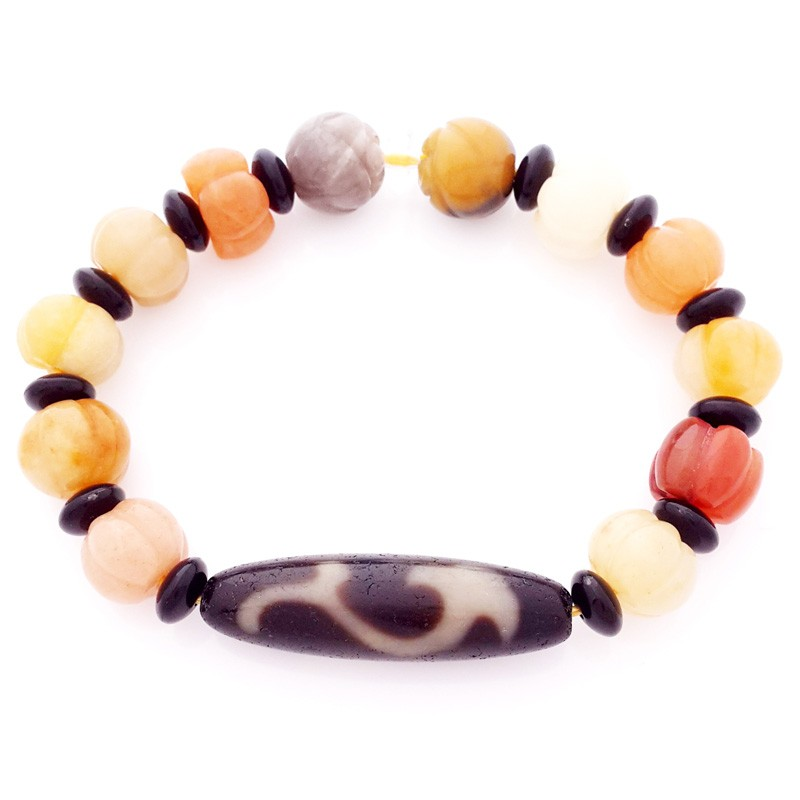 Authentic OLD Agate dZi Bead Ru Yi Bracelet for Authority and Auspiciousness