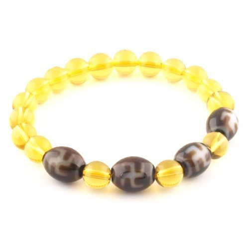 Hotu Dzi Beads with 8mm Smooth Citrine Bracelet