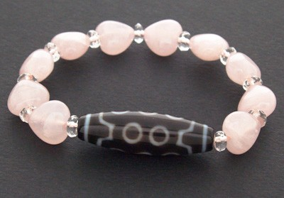 10 Eyed Dzi Bead with Heart Shape Rose Quartz Beads Bracelet