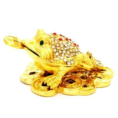 Bejeweled Golden Three Legged Toad on Bed of Coins