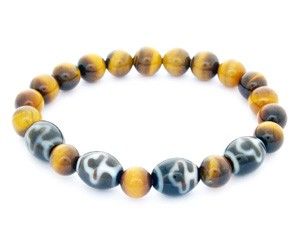 Bodhi Tree Dzi Beads with Natural Tiger Eye Bracelet