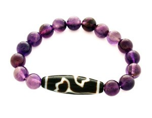 Lotus Flower Dzi Bead with Amethyst Quartz Bracelet