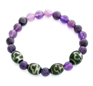 Bodhi Tree Dzi Beads with Natural Amethyst Bracelet