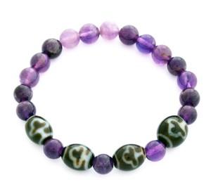 Bodhi Tree Dzi Beads with Natural Amethyst Bracelet