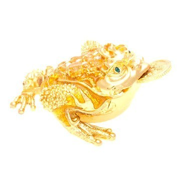 Bejeweled Golden Three Legged Toad
