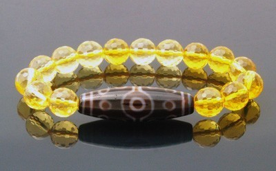 15 Eyed Dzi Bead with Faceted Citrine Bracelet