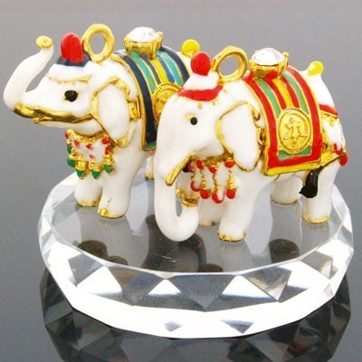 A Pair of Bejeweled White Elephants