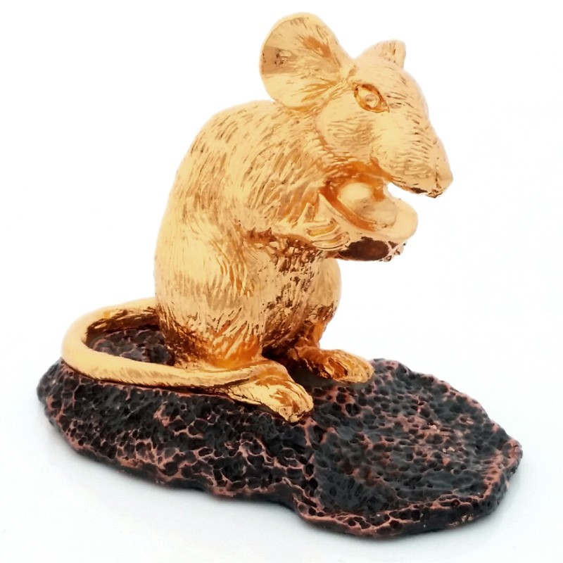 24K Gold Plated Rat Figurine