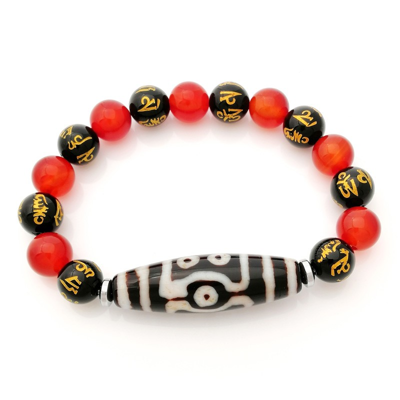 Authentic Tibetan 7 Eyed Agate Dzi Bead Bracelet