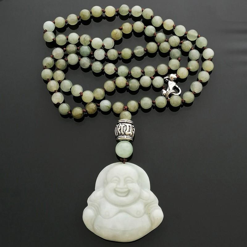 Jade Laughing Buddha Necklace