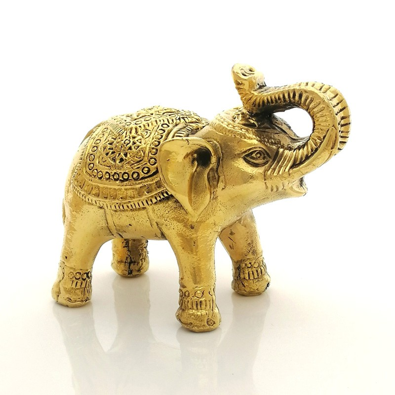 Feng Shui Sculpture Elephant Bronze Mini Statue with Rising Trunk