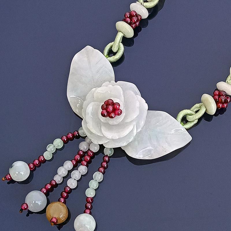 100% Natural Jade Peony Feng Shui Symbol Necklace