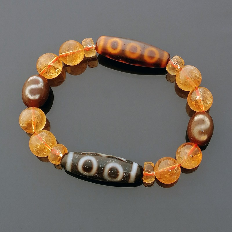 Feng Shui Super Wealth dZi Beads Combo Bracelet to Attract Great Wealth Luck